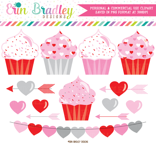 Valentines Day Cupcakes and Hearts Clipart