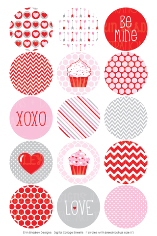 Valentines Day Digital Bottle Cap Images