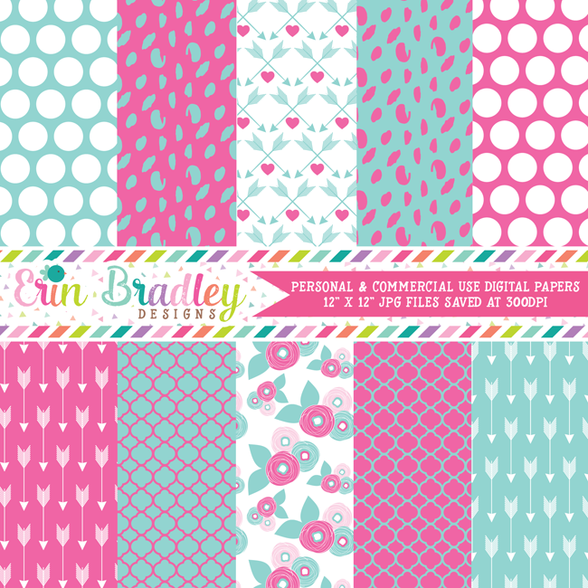 Pink and Blue Valentines Day Digital Papers