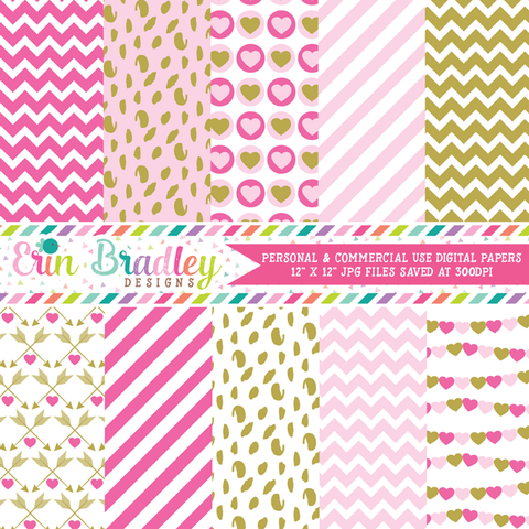 Pink and Gold Valentines Day Digital Paper Pack