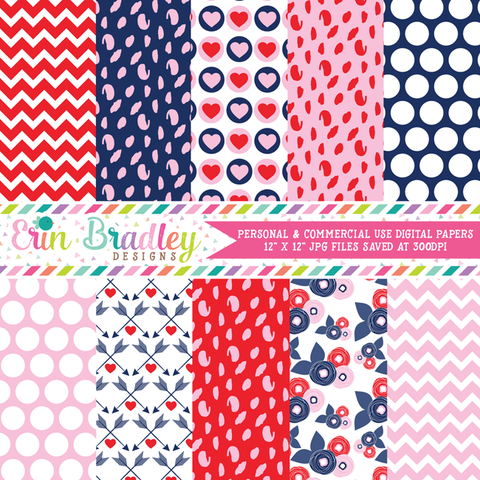 Red Blue Pink Valentines Day Digital Paper Pack
