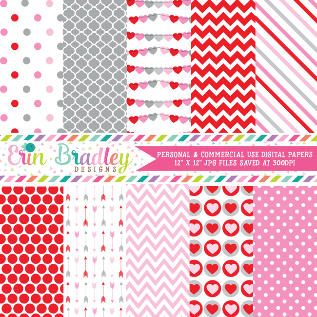 Valentines Day Red Pink and Gray Digital Paper Pack
