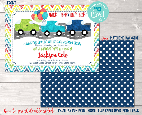 Editable Virtual Drive By Birthday Parade Blue Party Invitation Instant Download Digital File