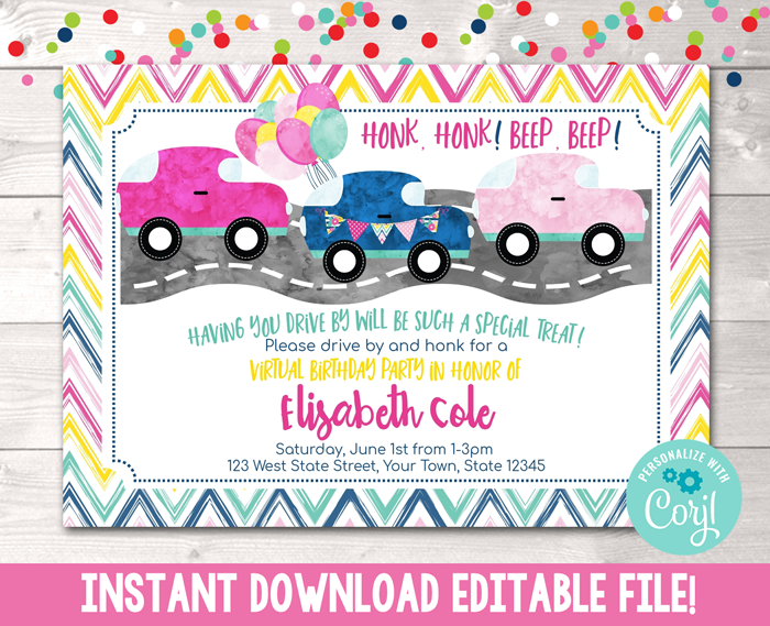 Editable Virtual Drive By Birthday Parade Pink Party Invitation Instant Download Digital File