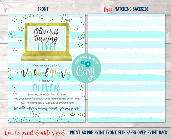 Editable Virtual Blue Stripes Birthday Party Invitation Instant Download Digital File