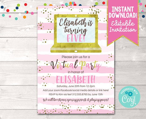 Editable Virtual Pink Stripes Birthday Party Invitation Instant Download Digital File