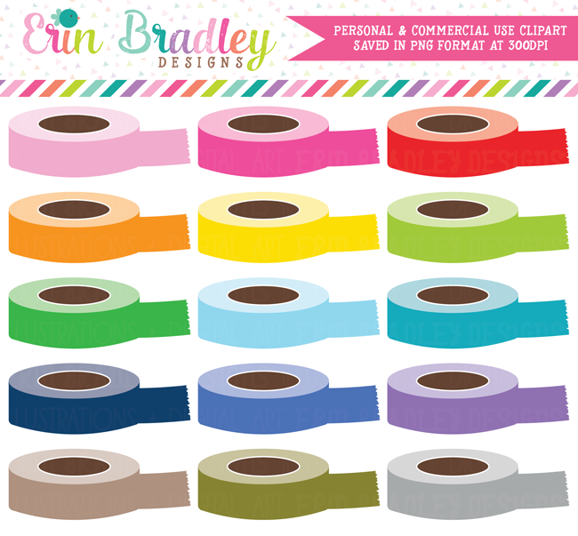 Digital Washi Tape Rolls Clipart