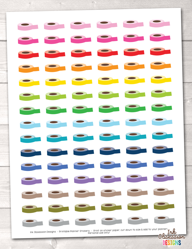 photograph about Printable Washi Tape called Electronic Washi Tape Rolls Printable Planner Stickers