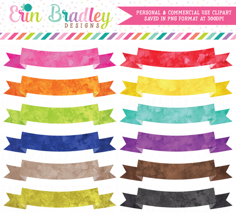 Text Banners Watercolor Clipart
