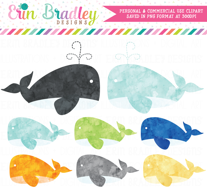 Watercolor Boy Whales Clipart