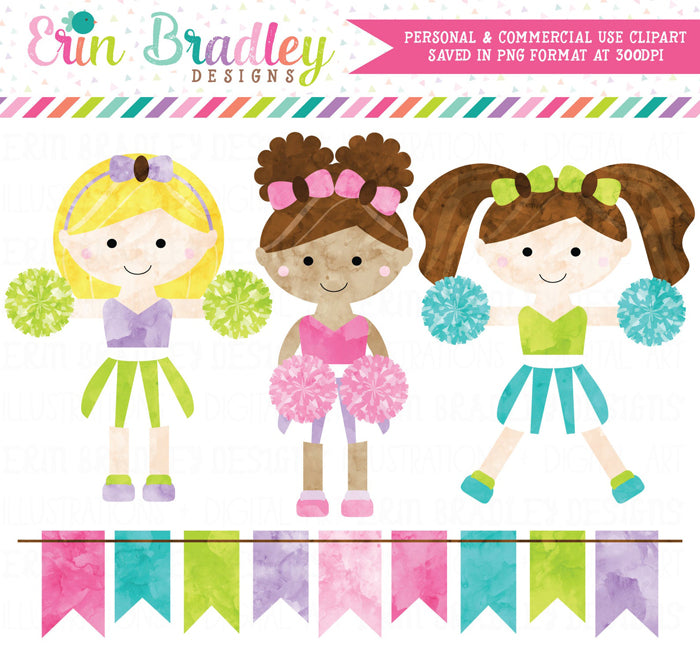 Cheerleaders Watercolor Clipart