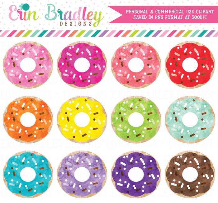 Watercolor Colorful Donuts Clipart