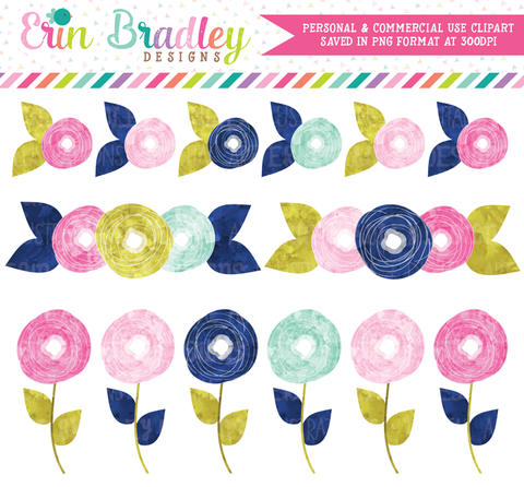 Flower Doodles Pink & Blue Watercolor Clipart