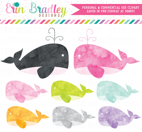 Watercolor Girl Whales Clipart