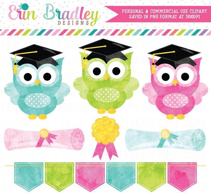 Graduation Owls Watercolor Clipart