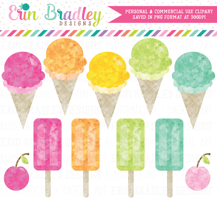 Watercolor Ice Cream Party Clipart