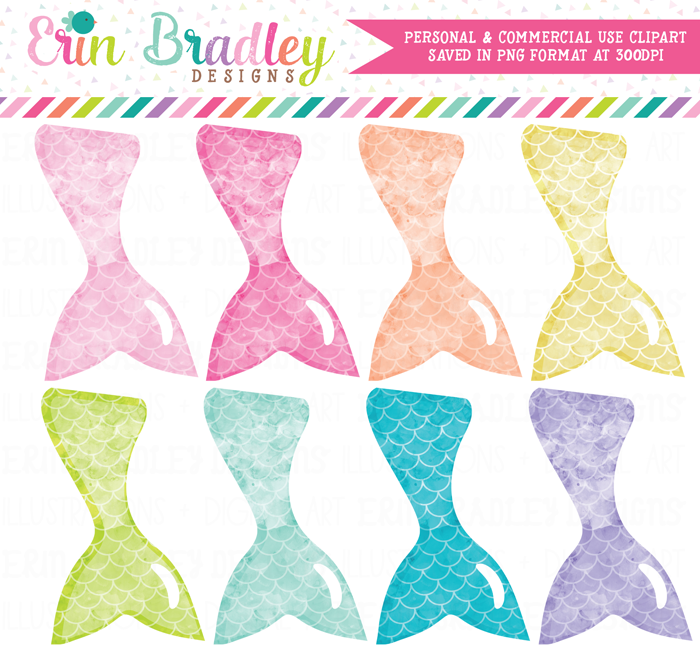 Mermaid Tails Watercolor Clipart