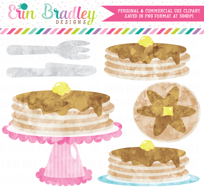 Watercolor Pancake Party Clipart