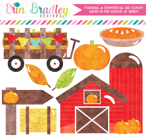 Watercolor Pumpkin Patch Clipart