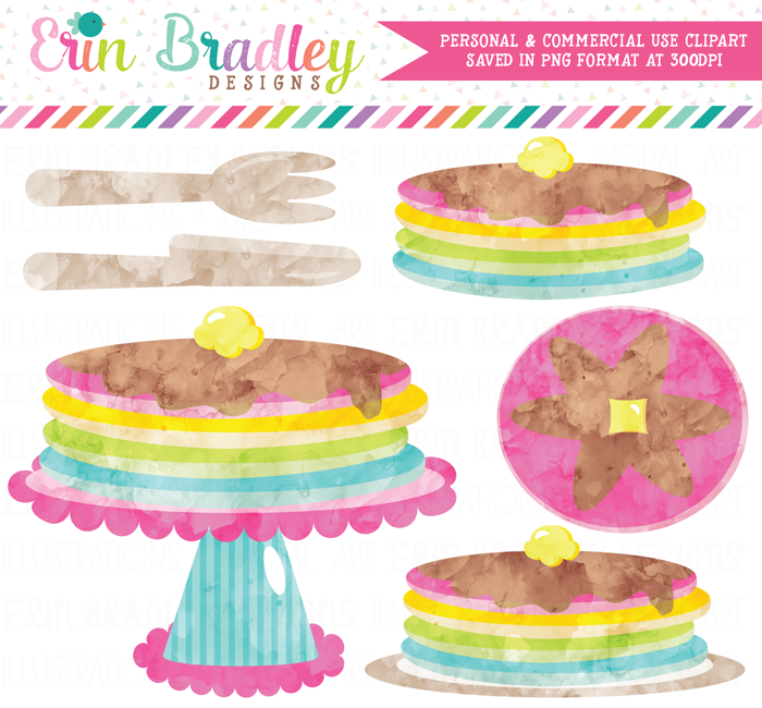 Watercolor Rainbow Pancakes Clipart
