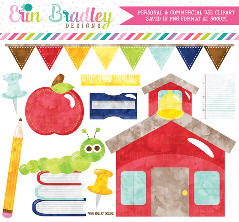 School Watercolor Clipart
