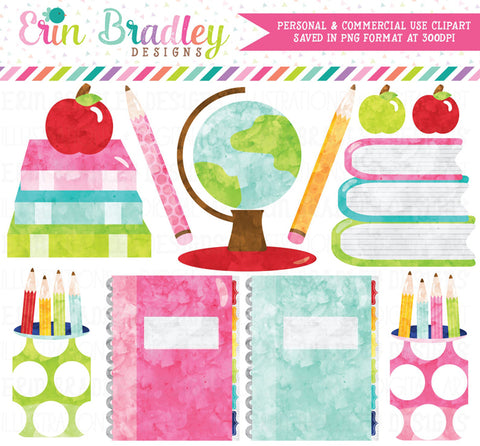 School Supplies Watercolor Clipart