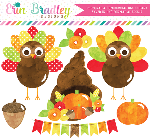 Watercolor Thanksgiving Turkeys Clipart