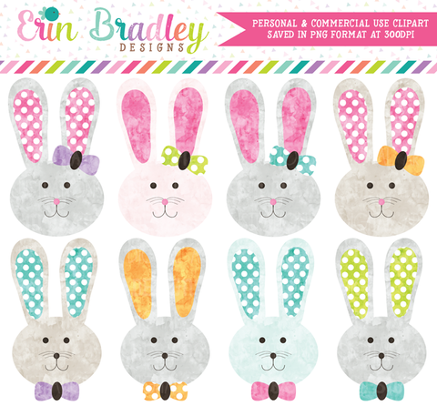 Easter Bunny Girls & Boys Watercolor Clipart