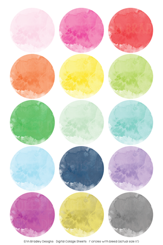 Watercolor Digital Bottle Cap Images