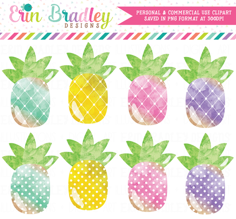 Pineapples Colorful Watercolor Clipart