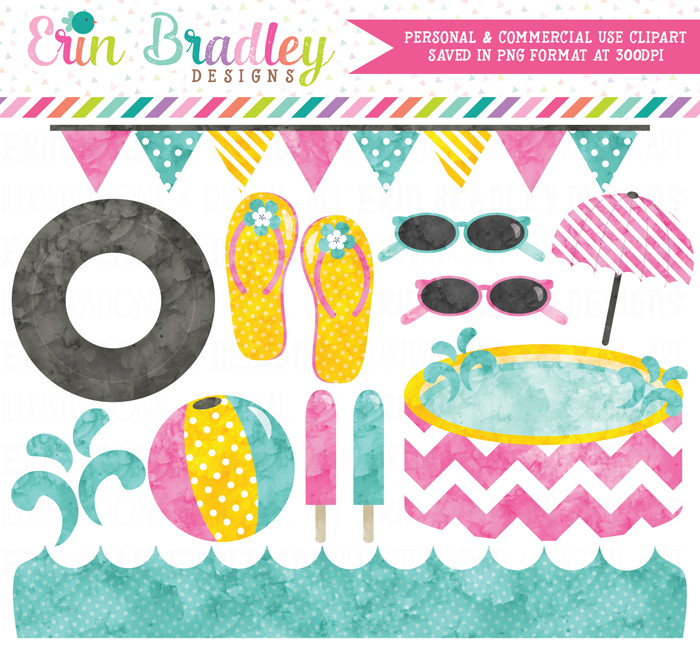 Pool Party Pink Watercolor Clipart