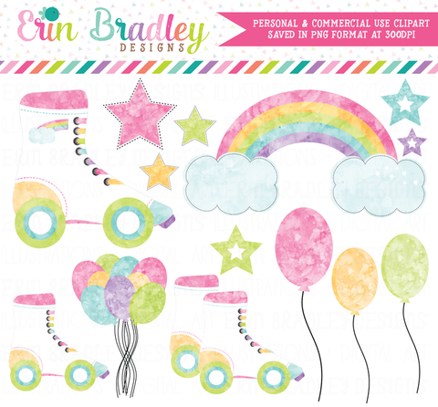 Roller Skating Party Light Watercolor Clipart