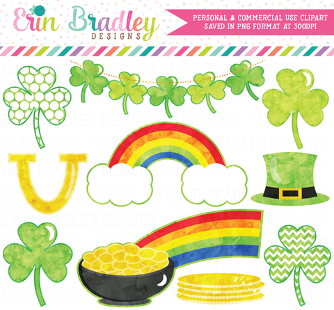 St. Patricks Day Shamrock Watercolor Clipart