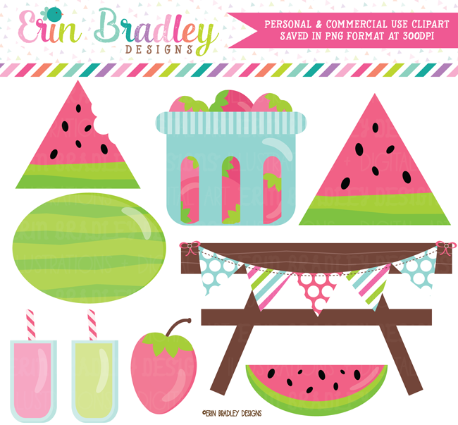 Watermelon Picnic Clipart