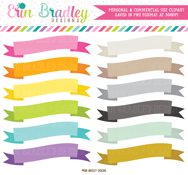 Commercial Use Wavy Text Flag Banners Clipart