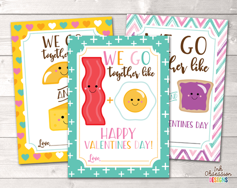 We Go Together Food Printable Valentines Day Cards