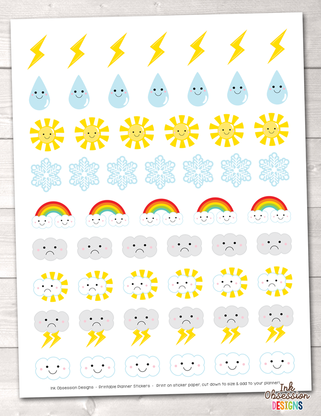 photograph regarding Printable Weather identified as Climate Printable Planner Stickers