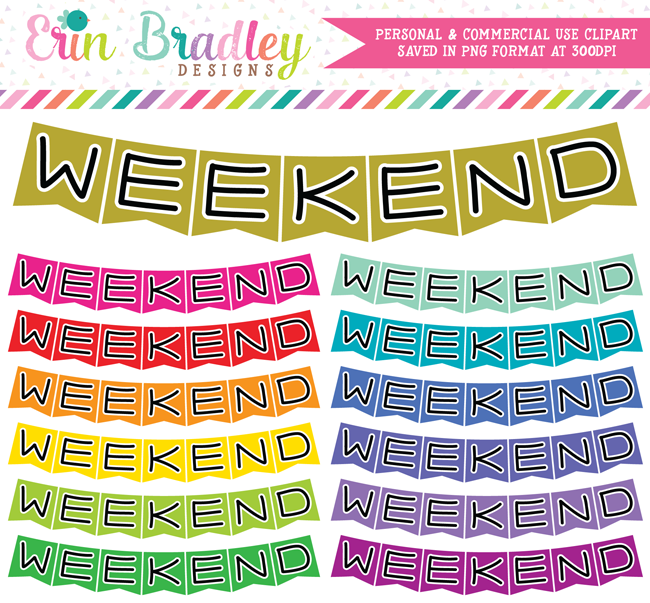 Horizontal Weekend Banners Clipart