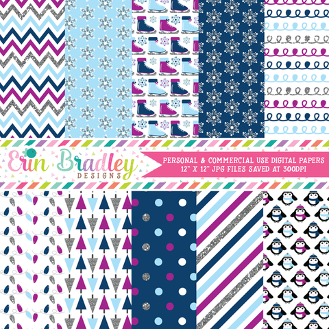 Winter Blues Digital Paper Pack with Silver Glitter