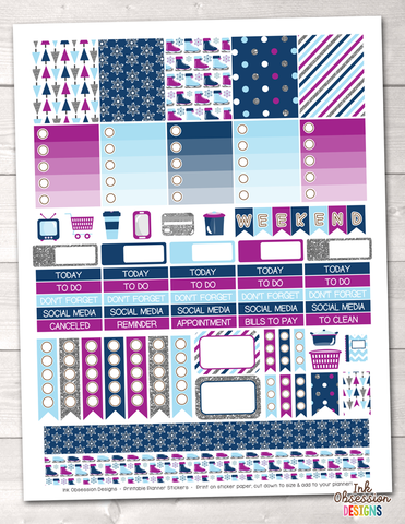 Winter Blues Printable Planner Stickers Weekly Kit