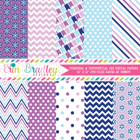 Winter Blues and Purples Digital Papers
