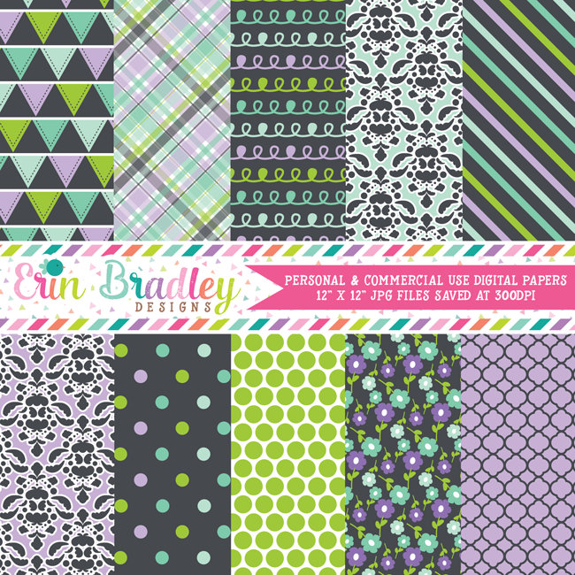 Purple Green Blue Charcoal Digital Paper Pack