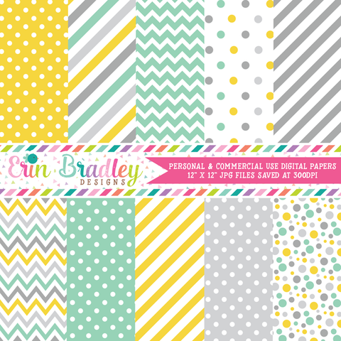 Yellow Gray Aqua Blue Digital Papers