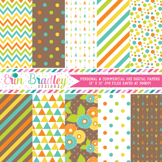 Blue Orange Green Brown Digital Paper Pack
