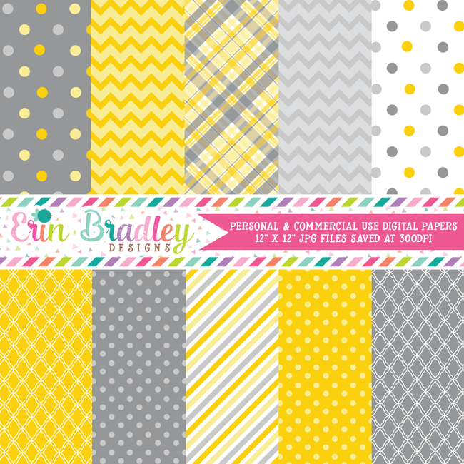 Yellow and Gray Commercial Use Digital Papers