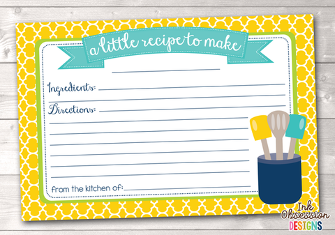 Yellow Quatrefoil Printable Recipe Cards