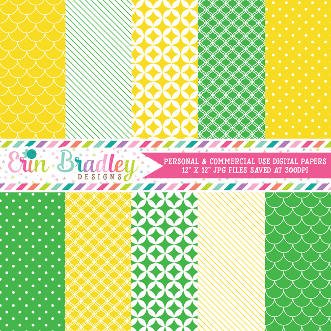 Yellow and Kelly Green Digital Paper Pack