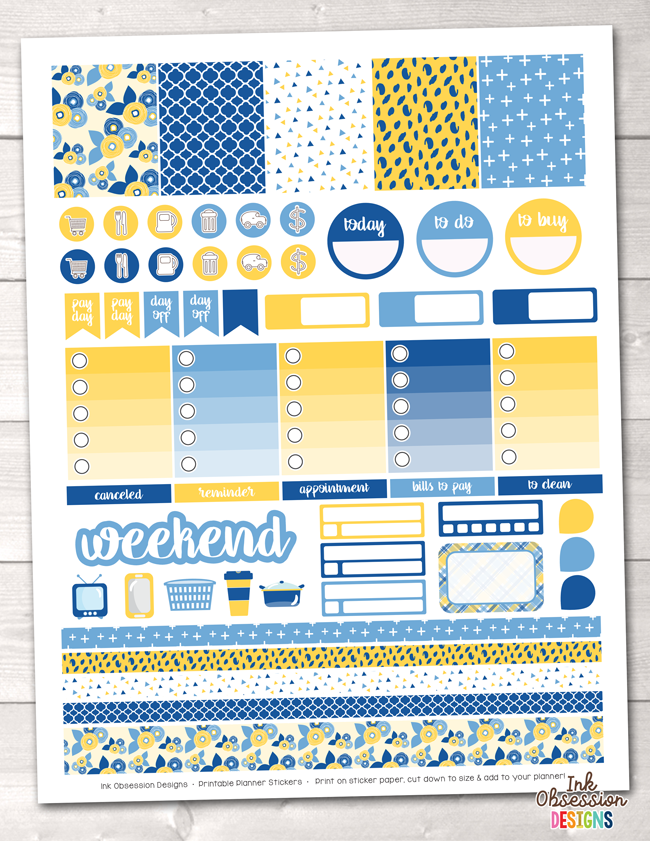 Yellow and Blues Printable Planner Stickers Weekly Kit