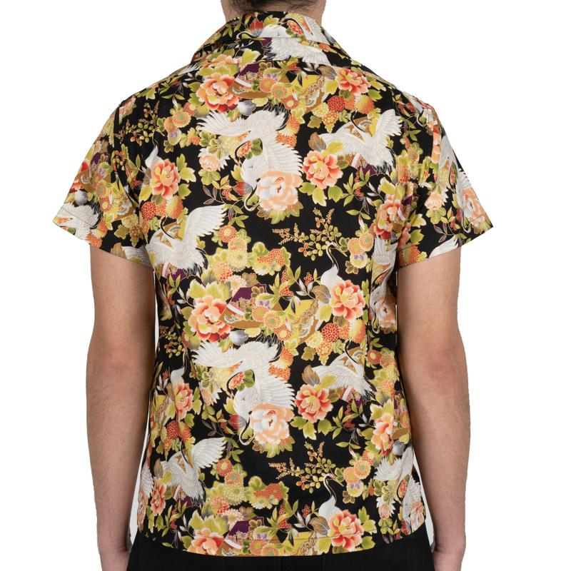 Aloha Shirt - Japan Cranes Festival - Black