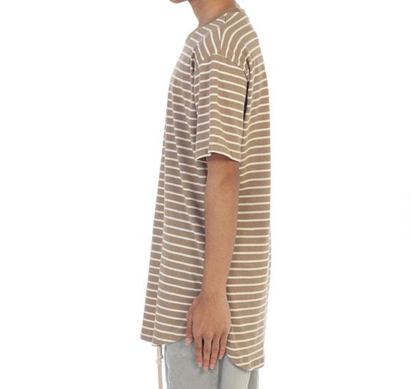 Elongated Embroidered Striped Tee - Tan